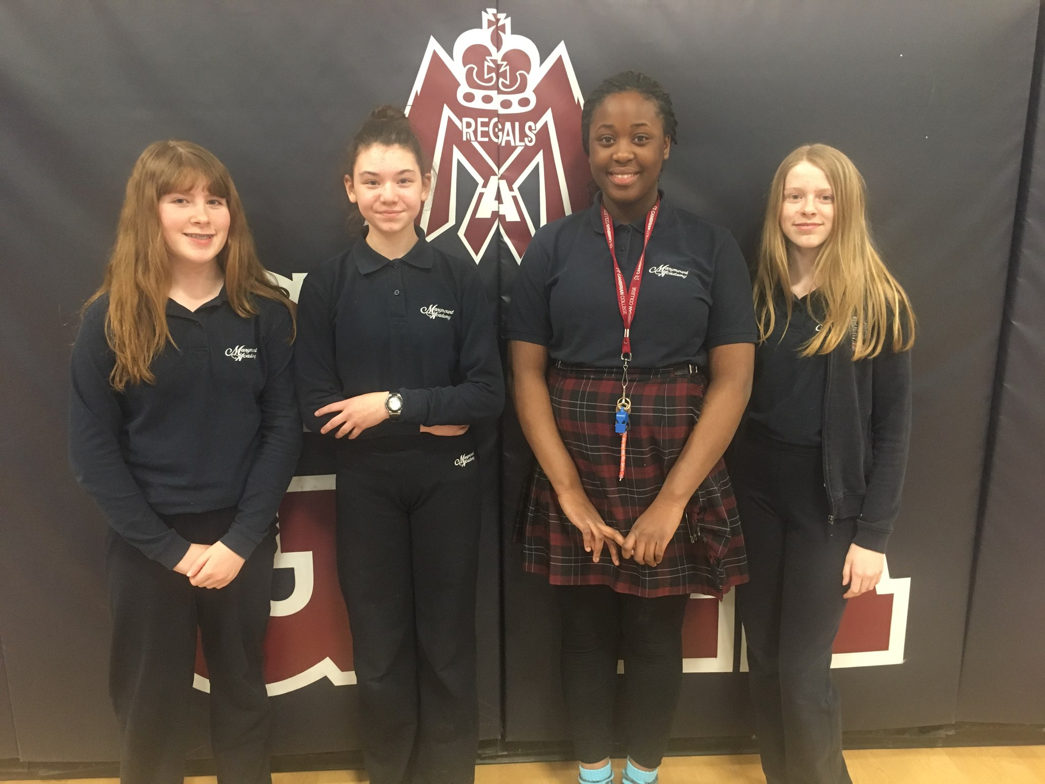 Congratulations to Mrs. Jutila's Grade 8 Marymount Academy students Emma Vellow, Beth Richard, Odossa Oriakhi, Cassidy McLardie and Mackenzie Michalowicz (not pictured) for winning second place in the Ontario Catholic School Trustees Association video contest.