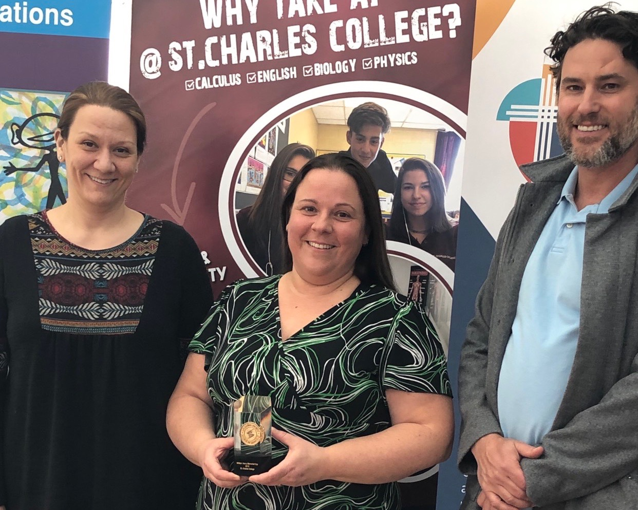 Pictured from left to right – St. Charles College teachers Julie Dion, Nancy Thompson, and SCDSB Secondary Curriculum Consultant