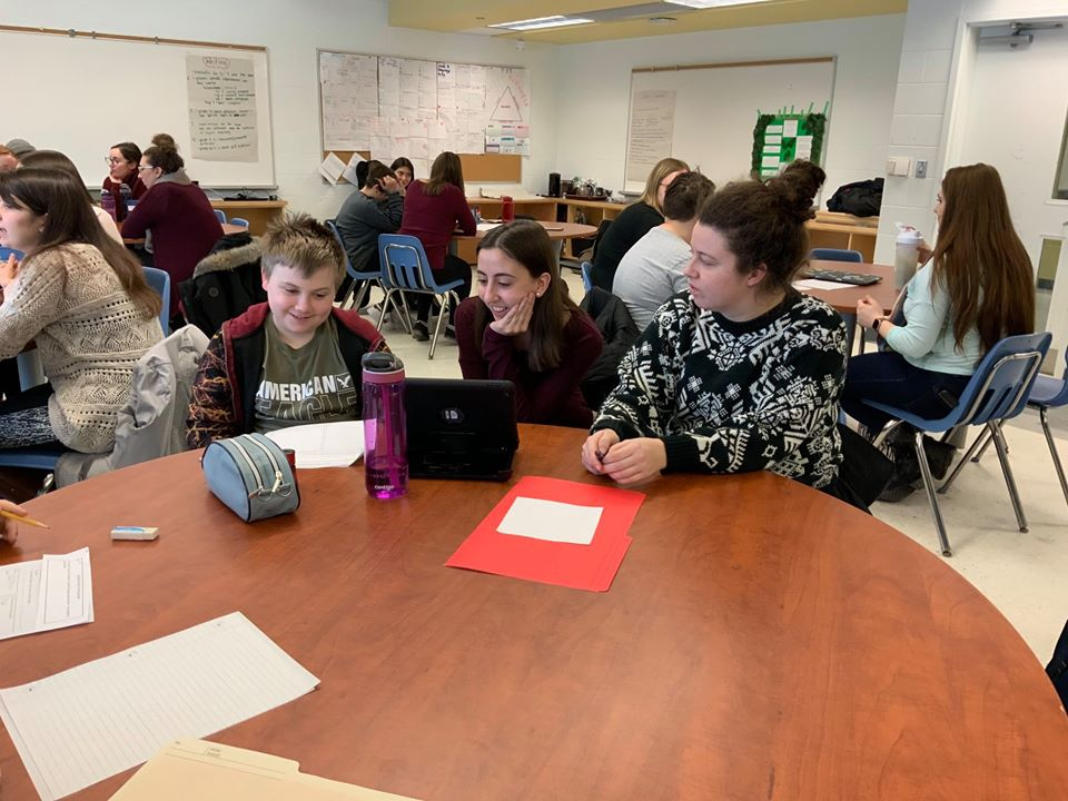 Laurentian students speak with a Pius XII Student
