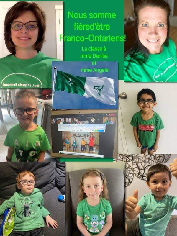 a collage of students and staff wearing white and green.